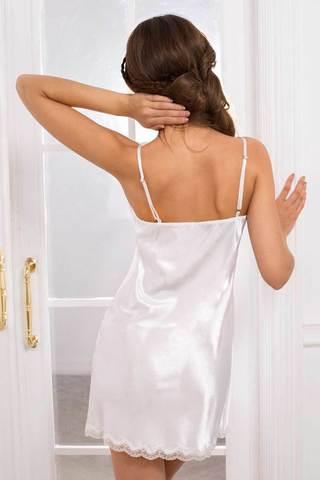 Короткая сорочка полуприлегающего силуэта из гладкого шелка-сатина