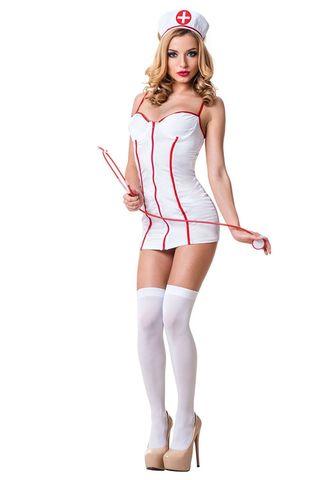 Костюм медсестры выполнен из полиэстера и эластана