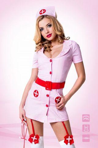 Костюм медстестры состоит из розового мини-халата со съемными пажами, головного убора и красного лакового пояса