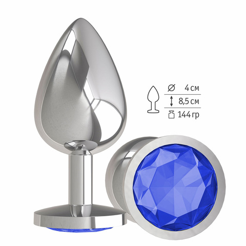 Анальная втулка Silver с синим кристаллом большая