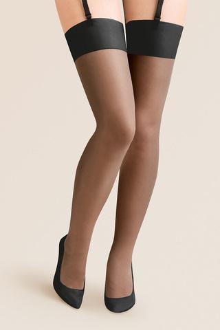 Черные чулки Cher Plus Size 15 den без силиконовой поддержки (под пояс)