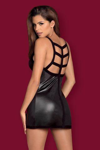 Эффектная черная сорочка Leatheria выполнена из тонкой эластичной эко-кожи