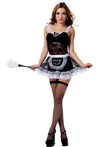 Костюм французской горничной состоит из черного ажурного мини-платья с белыми оборками, передника, головного убора и чулок в сетку