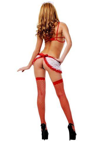 Костюм медсестры состоит из кружевного платья с красной отделкой, головного убора и стетоскопа