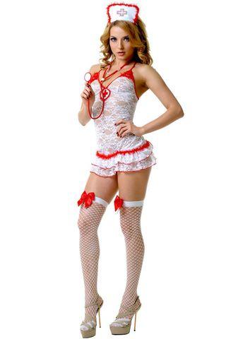 Костюм медсестры включает в себя платье, перчатки и трусы-стринги, которые выполнены из полиамида с добавлением эластана