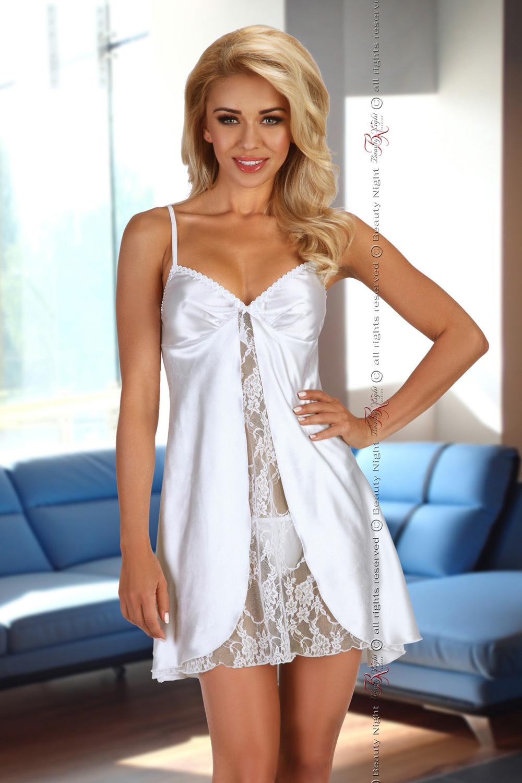 Белая атласная сорочка Alexandra с кружевными вставками, в комплект идут стринги фото