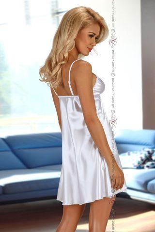 Белая атласная сорочка Alexandra с кружевными вставками, в комплект идут стринги