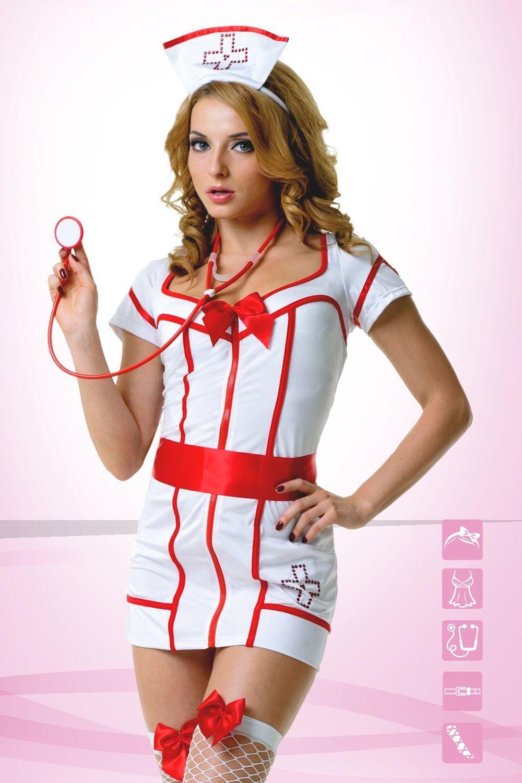 Костюм доктора состоит из белаого платья с красной отделкой и вырезом на спине, атласного пояса-ленты, головного убора и стетоскопа фото
