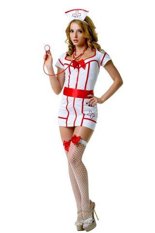 Костюм доктора состоит из белаого платья с красной отделкой и вырезом на спине, атласного пояса-ленты, головного убора и стетоскопа