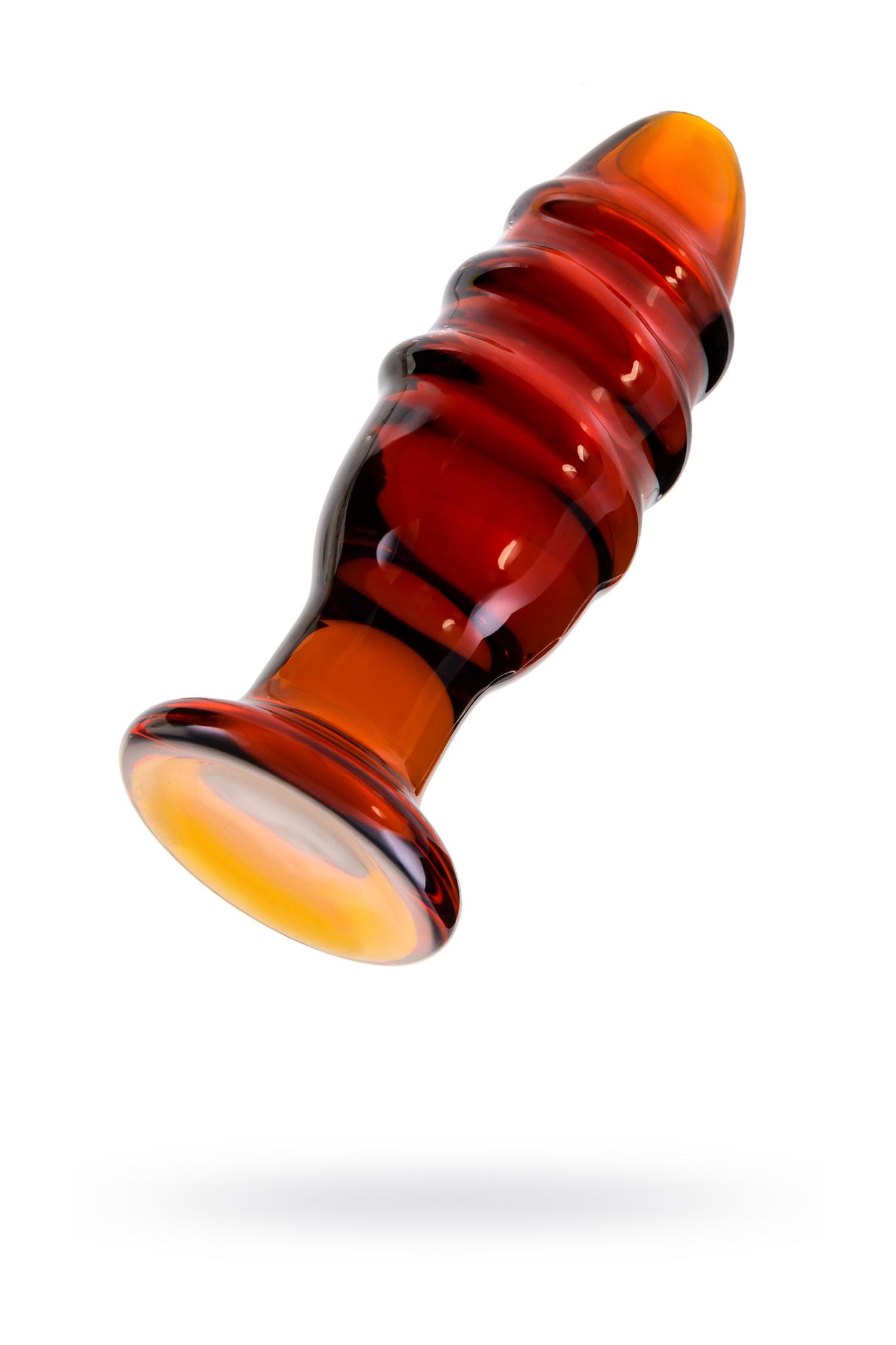 Анальная втулка Sexus Glass, стекло, коричневая, 12,5 см, Ø 4 см фото