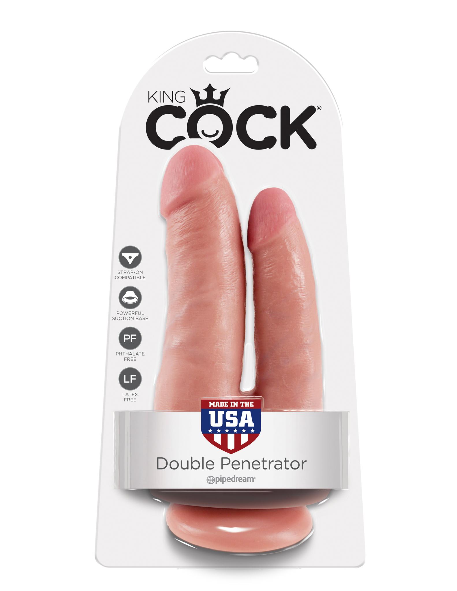 Двойной фаллоимитатор на присоске телесный King Cock Double Penetrator Flesh фото