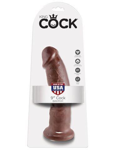 Фаллоимитатор на присоске коричневый King Cock 9