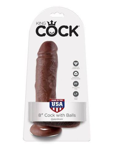 Фаллоимитатор на присоске коричневый King Cock 8 Cock with Balls