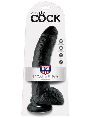 Фаллоимитатор на присоске черный King Cock 9 Cock with Balls