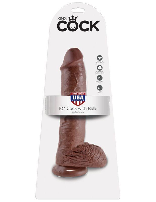 Фаллоимитатор-гигант коричневый King Cock 10 Cock with Balls фото