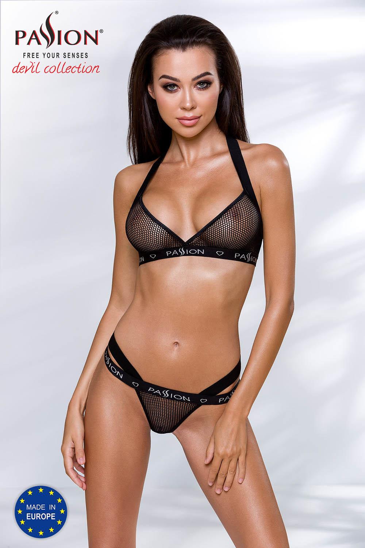 Эротический комплект белья Arin черного цвета состоит из лифа и стрингов, выполнен из эластичного материала в виде сеточки и стреп-лент с фирменным логотипом фото