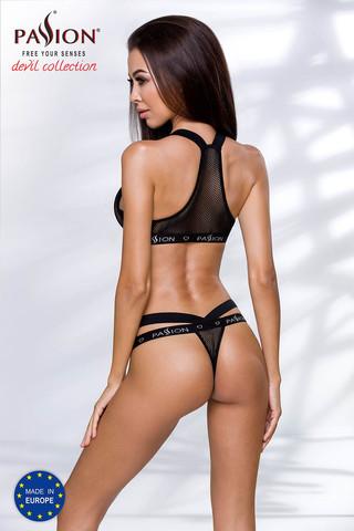 Эротический комплект белья Arin черного цвета состоит из лифа и стрингов, выполнен из эластичного материала в виде сеточки и стреп-лент с фирменным логотипом