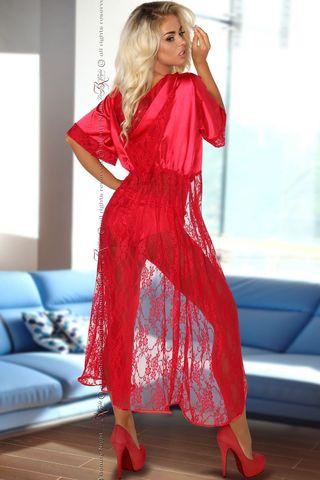 Красный кружевной пеньюар с капюшоном Electra, в комплект идут трусики