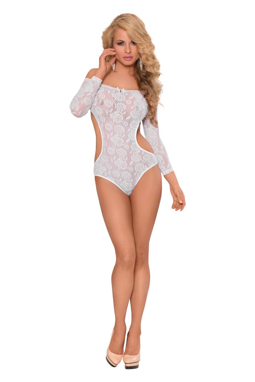Боди с открытыми плечами и рукавами SoftLine Collection Rosa, белый, S/M фото
