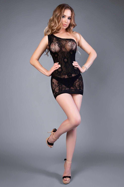 Эротическое короткое черное платье 04522 на одно плечо фото