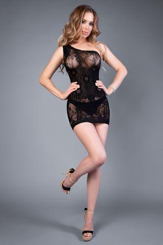Эротическое короткое черное платье 04522 на одно плечо
