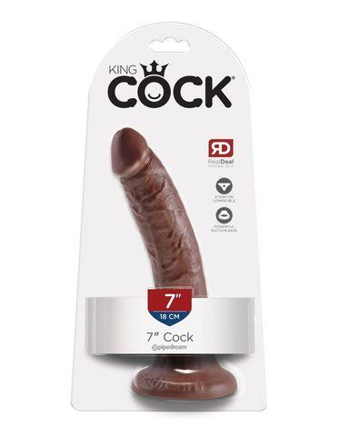 Фаллоимитатор на присоске King Cock 7 Cock - Brown коричневый
