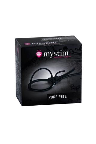 Электросбруя Mystim Pure Pete, силикон, черный, 14 см