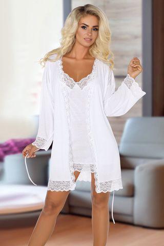 Белый комплект Jane с кружевными вставками, состоит из сорочки и пеньюара