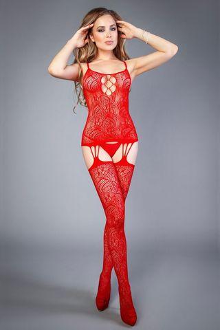 Боди-комбинезон 04530 красного цвета с вырезом на груди и имитацией чулок