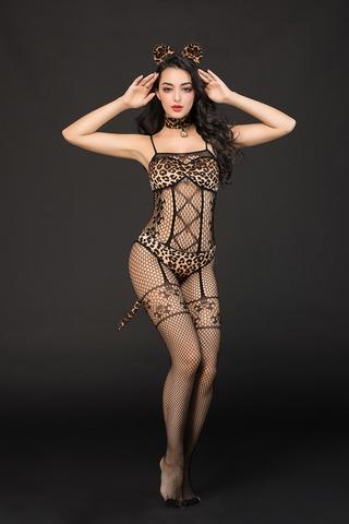Костюм кошки Candy Girl Kandi (костюм-сетка, топ, трусы с хвостом, чокер, головной убор) черно-леопардовый, OS