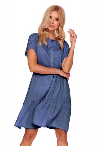 Элегантная сорочка синего цвета выполнена из вискозы высшего качества с прекрасной вышивкой в горошек