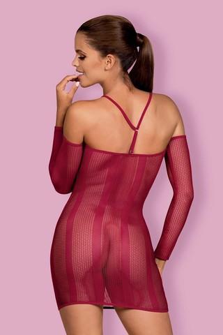 Темно-красное прозрачное платье-сетка Dressie с бретелями