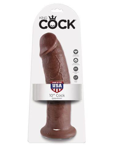 Фаллоимитатор-гигант на присоске коричневый King Cock 10 Cock Brown