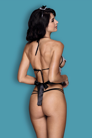 Костюм горничной Candy Girl Ciara (бюстгальтер, стринги, наклейки на грудь, фартук, головной убор) черно-белый, OS