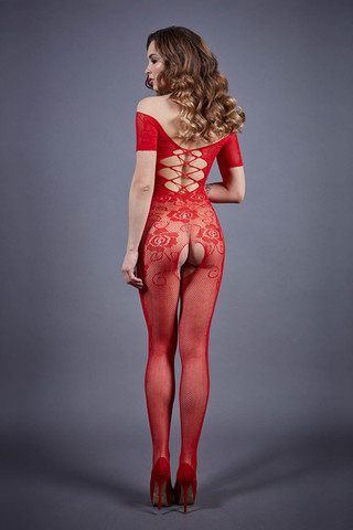 Боди-комбинезон 04918 красного цвета с кружевом