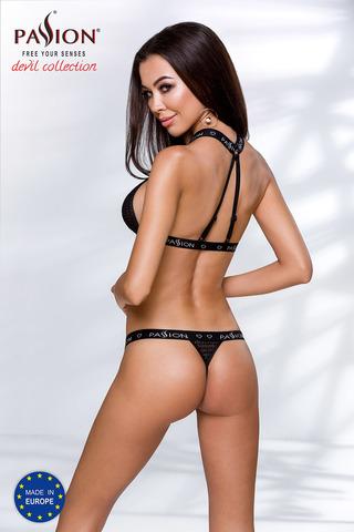Эротический комплект белья Mirajane черного цвета выполнен из эластичного материала в виде сеточки и стреп-лент с фирменным логотипом