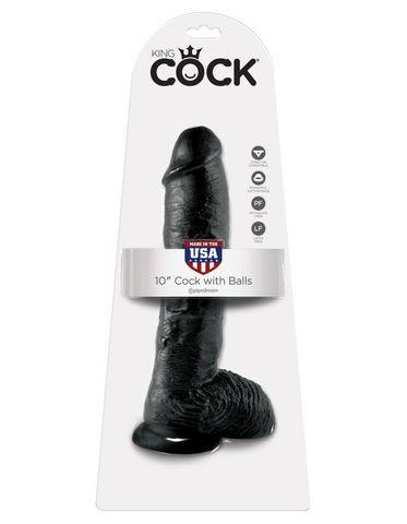 Фаллоимитатор-гигант на присоске с мошонкой черный King Cock 10 Cock with Balls Black