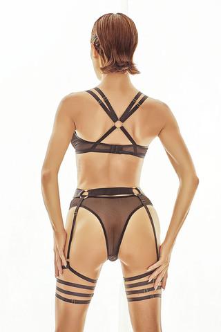 Соблазнительный комплект нижнего белья выполнен из полупрозрачной сеточки и эластичных стрэпов