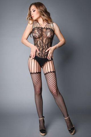 Боди-комбинезон 04505 черного цвета с имитацией чулок в крупную сетку