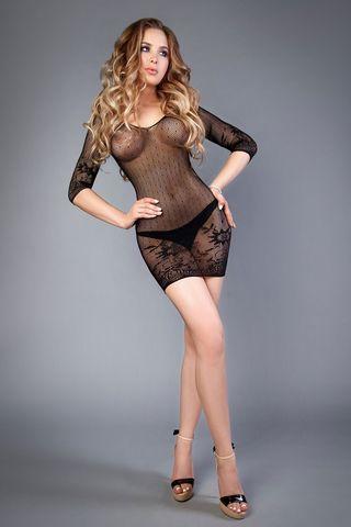 Эротическое короткое черное платье 04513 с длинным рукавом