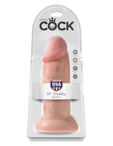 Фаллоимитатор-гигант на присоске телесный King Cock 10 Chubby Flesh