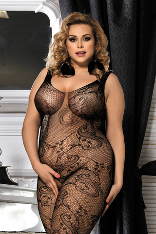 Костюм-сетка Candy Girl Cinnamon черный, 2XL