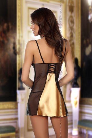 Черная с золотым сорочка Michele с кружевными вставками, в комплект идут стринги