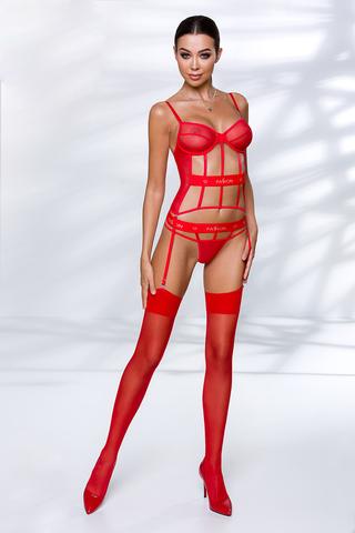 Красный корсет Kyouka с подвязками для чулок выполнен из полупрозрачной сеточки и эластичных стрэп-лент
