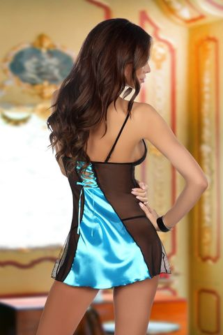 Черно-голубая сорочка Michele с кружевными вставками, в комплект идут стринги