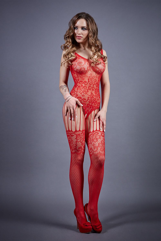 Боди-комбинезон 04921 красного цвета с имитацией чулок фото