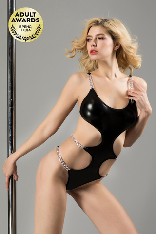 Боди с металлическими цепочками Candy Girl Selene черное, XL