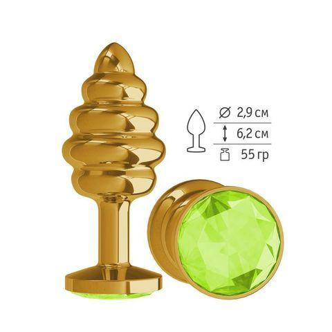 Анальная  втулка Gold Spiral с салатовым кристаллом