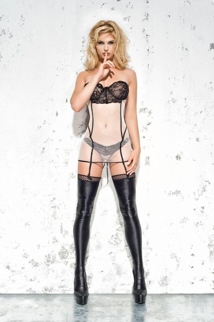 Корсет с пажами для чулок и шнуровкой сзади Me Seduce Mila, черно- белый, L/XL фото