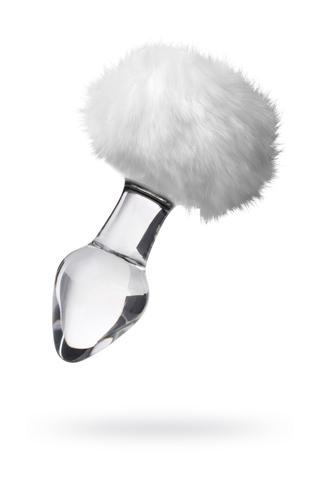Анальная втулка Sexus Glass, стекло, с белым хвостиком, прозрачная, 14 см, Ø 4 см, 165 г